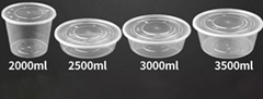 Round Transparent  Plastic Disposable Takeaway Food Container With Lid