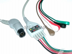 One-piece patient 5LD ECG cable with lead wire