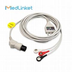GE一體3導心電導聯線,扣式,美標