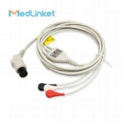 科林BP308一體三導心電導聯線,扣式,美標