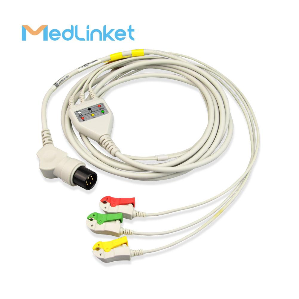 科林BP308一體三導心電導聯線,扣式,美標 3