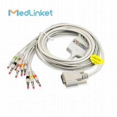 日本光電Cardiofax Q ECG-9110K 10導心電圖機導聯線,香蕉插,歐標