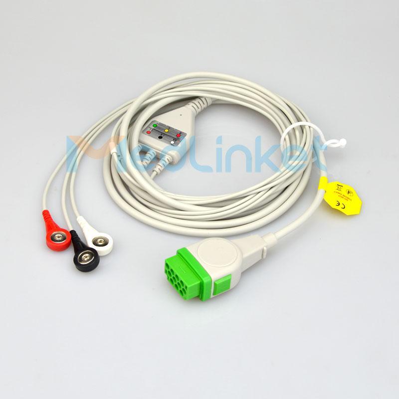 GE馬葵Dash PRO4000 三導心電導聯線,美標,扣式 1