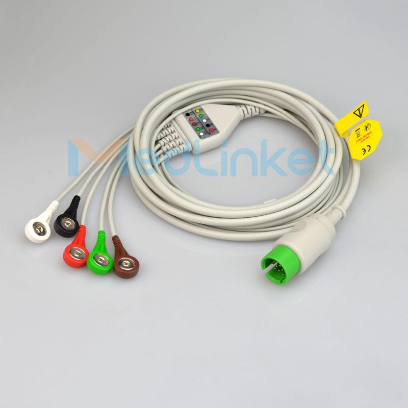 太空 90496 Ultraview 一體五導心電導聯線,扣式 1