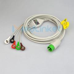 太空 90496 Ultraview 一體五導心電導聯線,扣式