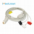 78352C 3lead ECG cable with leadwires,clip,AHA
