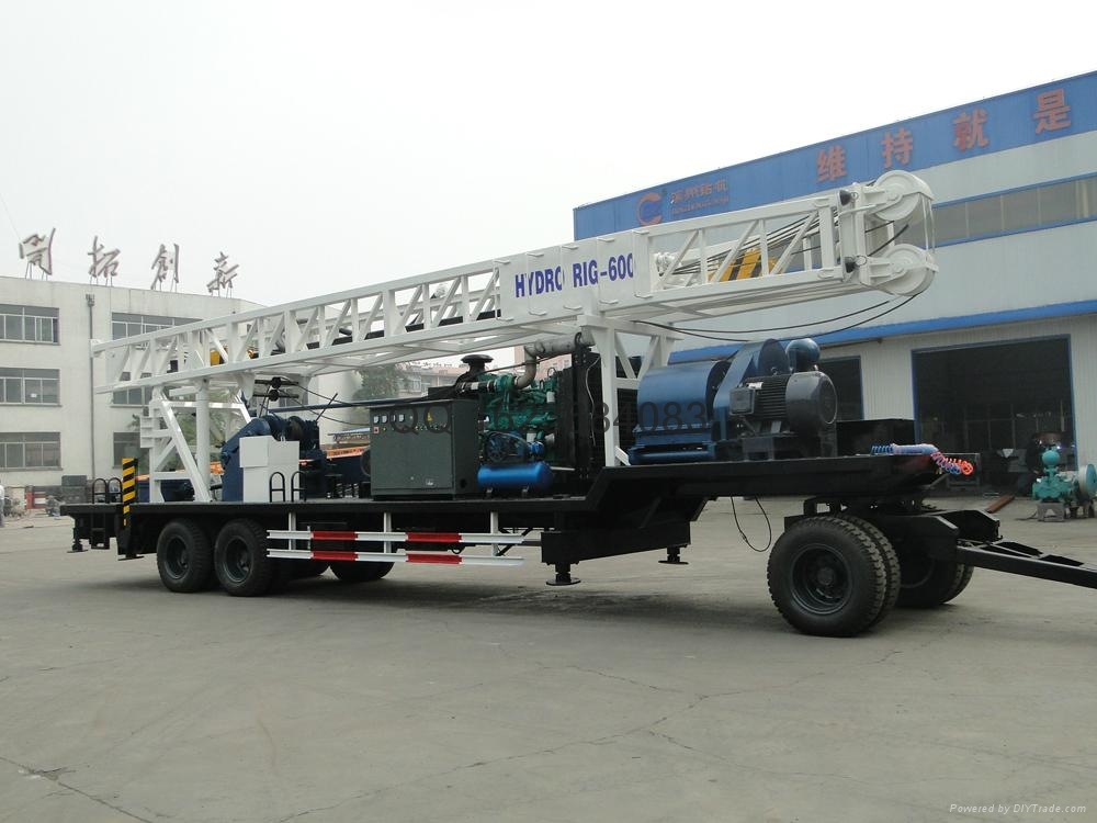 600m trailer mounted water well drilling rig  2
