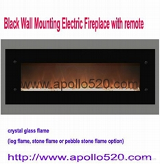 Black Wall Mounting Electric Fireplace with remote