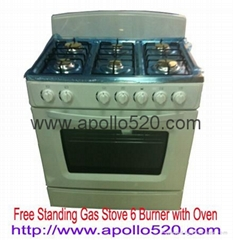 Free Standing Gas Stove 6 Burner with Oven