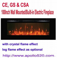 100Inch Wall Mounted/Built-in Electric Fireplace