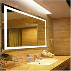 touch screen illuminated bathroom mirror with led light