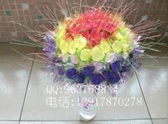 雙色綠葉玫瑰花