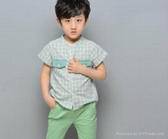 wholesale fashion boy shirts band collar short sleeve checks shirts for children