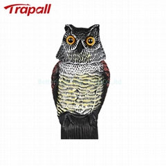 Plastic Owl Shape Bird Pest Control Scarer Garden Scarecrow with Movable Head