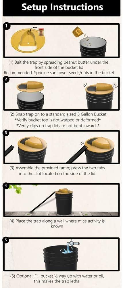 Reusable Humane Auto Reset Multi-catch Flip Bucket Lid Mouse Rat Trap 3
