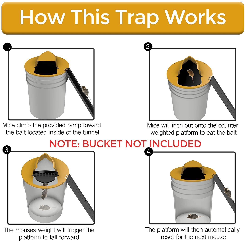 Reusable Humane Auto Reset Multi-catch Flip Bucket Lid Mouse Rat Trap 4