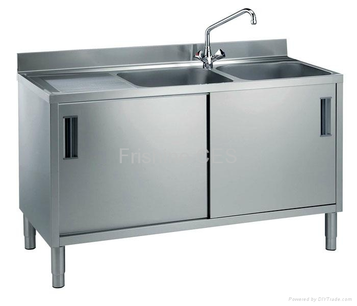 Stainless steel twin sink cabinet tsc 12 frishine for Stainless steel kitchen cabinets manufacturers