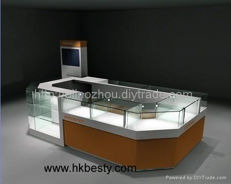 MDF and LED jewelry kiosk store display showcase design China