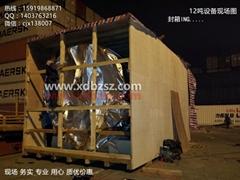 大型机械设备木箱打包现场