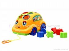 Blocks toys cartoon car with cable