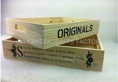 Rustic wooden crate wooden storage tray