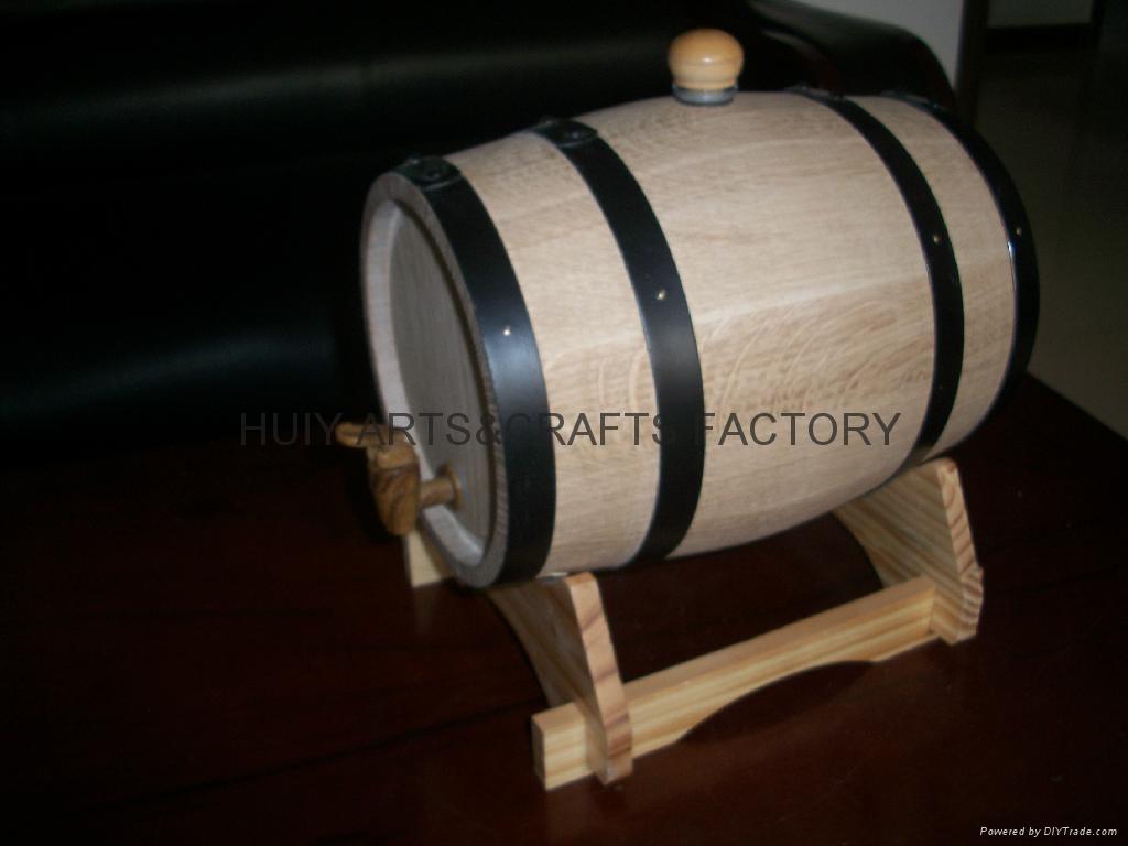 American Oak Barrel with Black Hoops 3