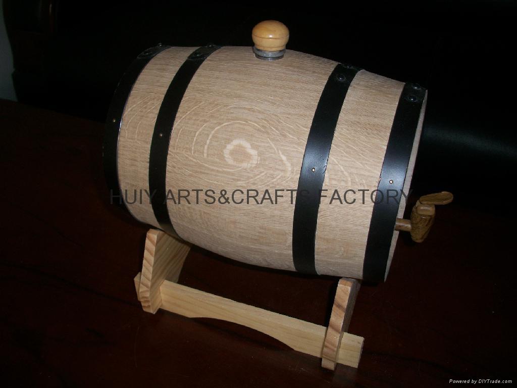 American Oak Barrel with Black Hoops 4