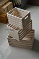 Set of 3 square wood fruit crates