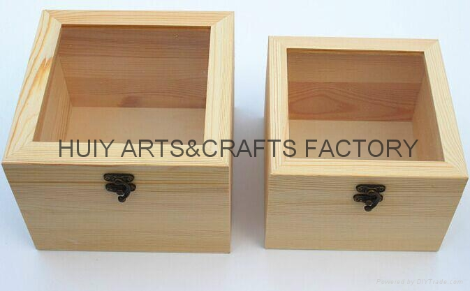Unfinished wooden box with many dividers and hinged lid 8