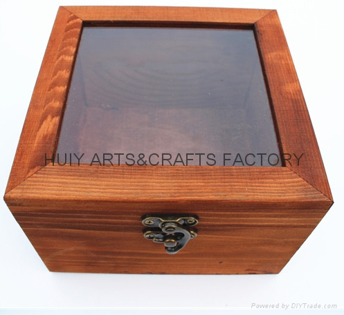 Unfinished wooden box with many dividers and hinged lid 11