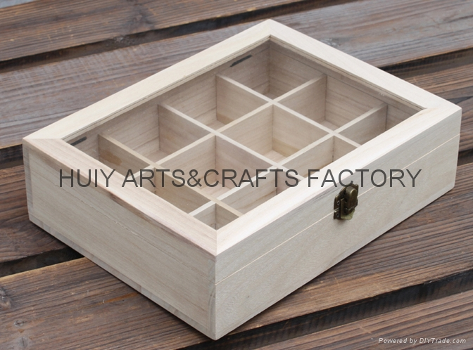 Unfinished wooden box with many dividers and hinged lid 13
