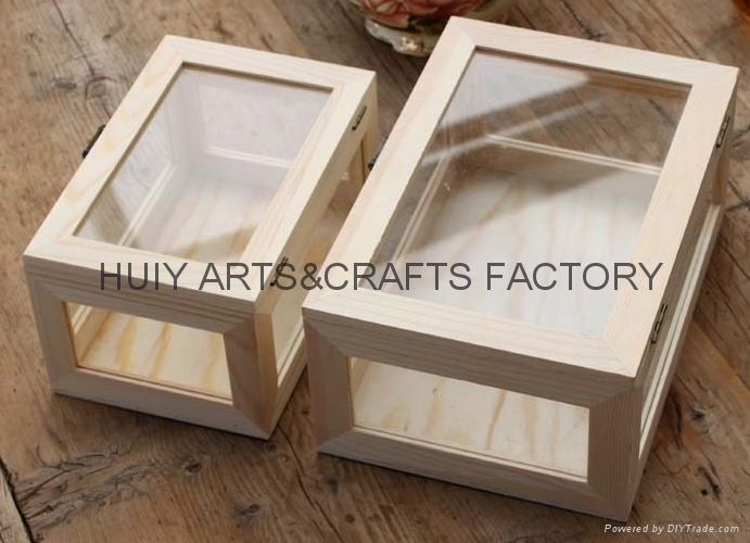 Unfinished wooden box with many dividers and hinged lid 1