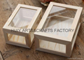 Unfinished wooden box with many dividers