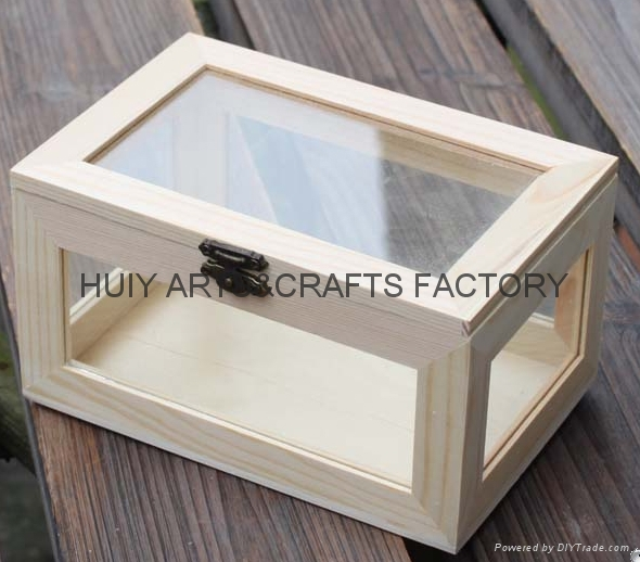 Unfinished wooden box with many dividers and hinged lid 14