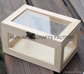 Unfinished wooden box with many dividers and hinged lid