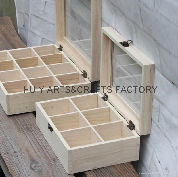 Unfinished wooden box with many dividers and hinged lid 17
