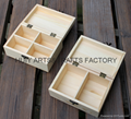 Unfinished wooden box with many dividers and hinged lid 18