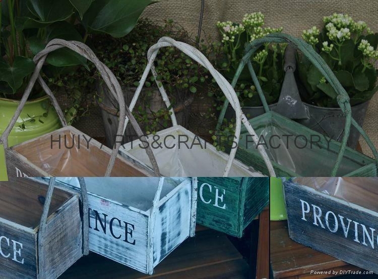 Wooden garden flower planters and pots               4