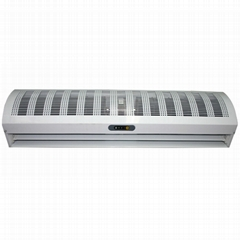 High speed cross-flow air curtain for commercial and industrial use with remote