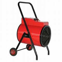 Round industrial fan heater with wheel