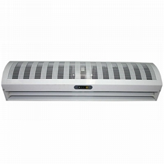 Cross-flow air curtain for commercial and industrial use with switch control