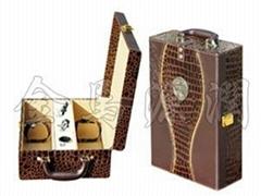豪華鱷魚皮配印花雙支酒盒