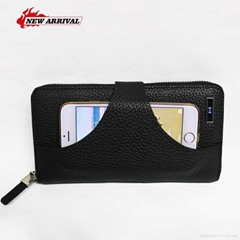 Men's Genuine Leather With Wireless Charger Power Bank Clutch Wallets