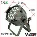 18pcs 18w rgbaw uv aluminum mini led par dj zoom stage light with 8 - 60 degree