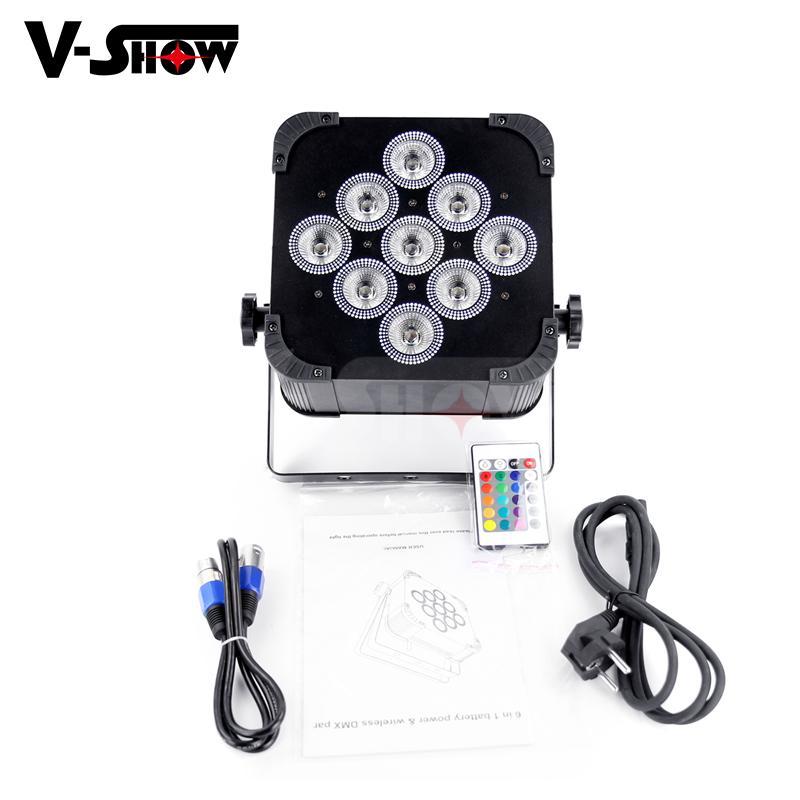 club decoration battery +wireless dmx led 9*18w rgbwa uv uplight par led  5