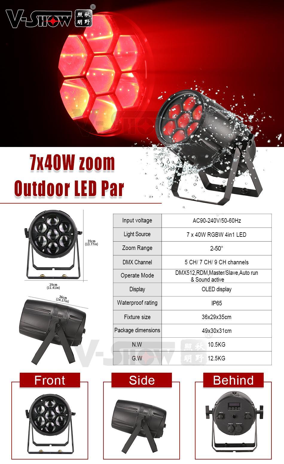 Outdoor Waterproof 7*40W Zoom LED Par Light RGBW 4in1 DMX RDM Par Light for DJ D 2