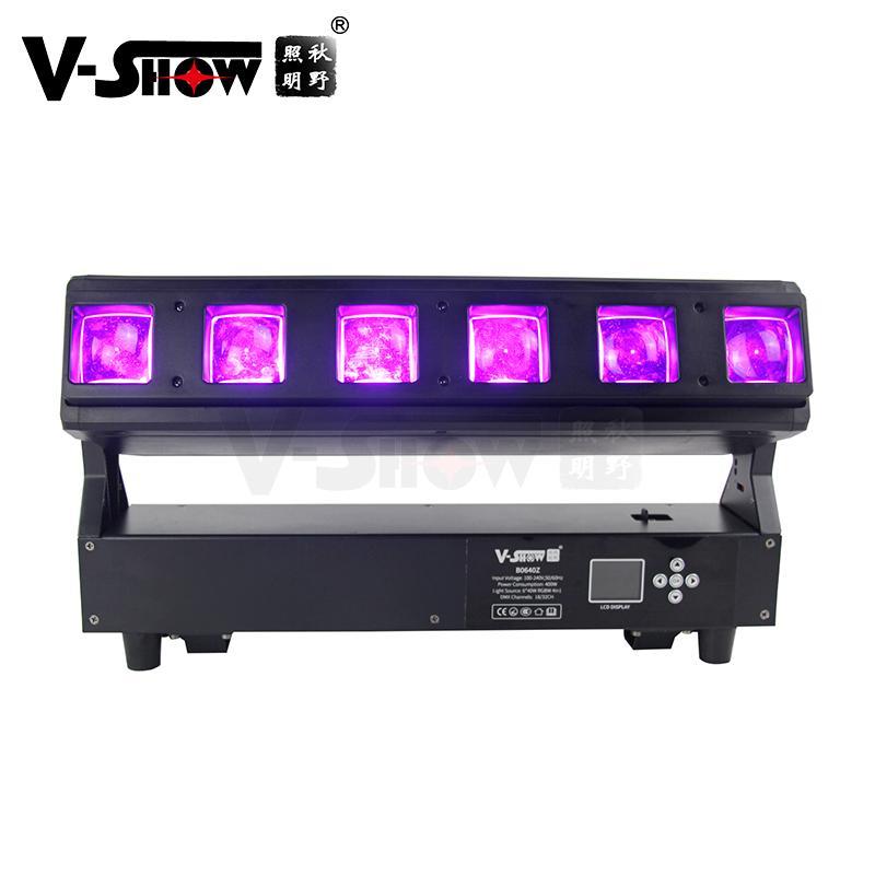 V-show 2021 luces led led bar dmx rgbw 6*40W zoom wash beam moving head for dj d 2