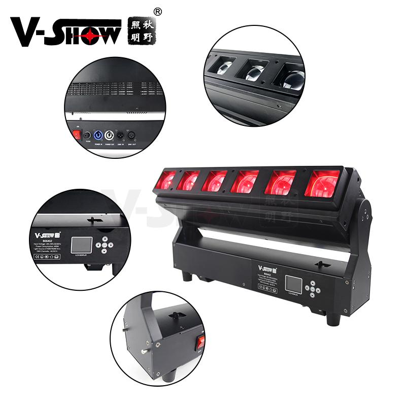 V-show 2021 luces led led bar dmx rgbw 6*40W zoom wash beam moving head for dj d 3