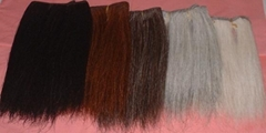 Wefted horse hairs and horse mane hairs for mane extensions and rocking horse