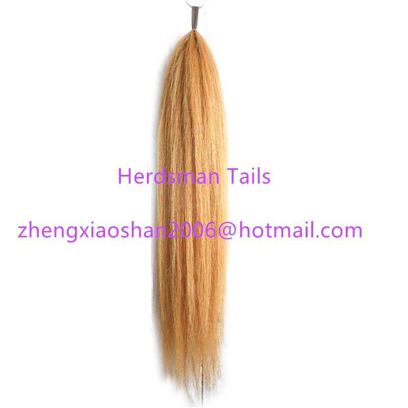 High quality 75cm double thickness false horse tails for horse riding  4